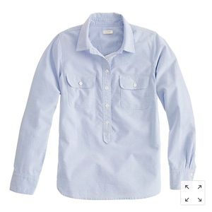 J. Crew Blue Oxford Popover Shirt, size 4